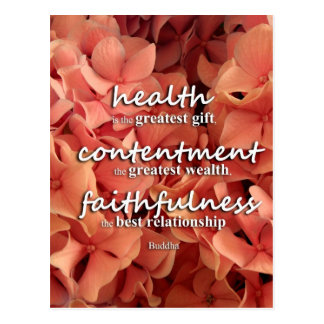 Buddha - health, contentment and faithfulness post cards