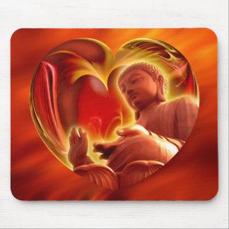 BUDDHA Heart | fire red Mousepad