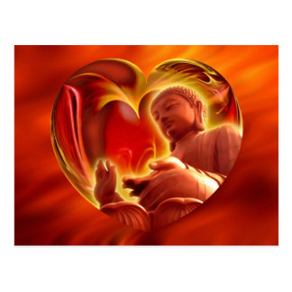 BUDDHA Heart | fire red Postcard