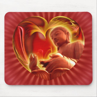BUDDHA Heart | red radial Mouse Pad