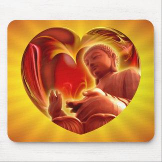 BUDDHA Heart | yellow shine Mousepads