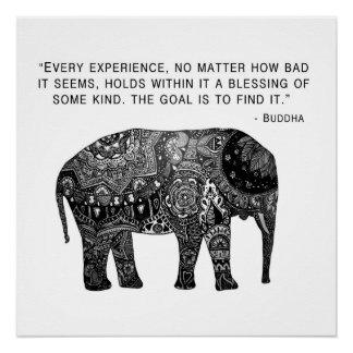 Buddha Henna Elephant Wisdom Poster