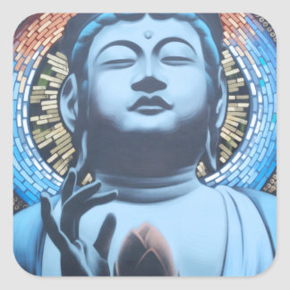 Buddha in Blue Square Sticker