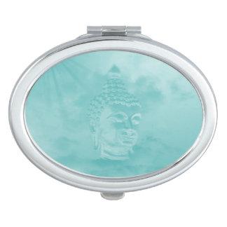 buddha in blue vanity mirror