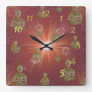 buddha in clouds in digital color square wall clock