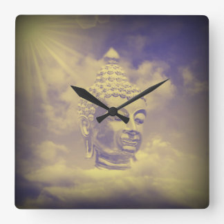 buddha in colored clouds with artificial sun wallclocks