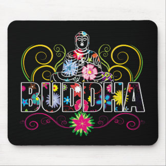 Buddha in Flowers Mouse Mat