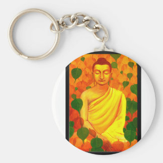 Buddha in Green Leaves-PCSN2015A.jpg Basic Round Button Key Ring