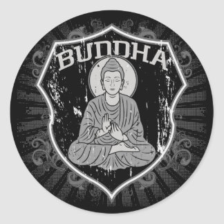 Buddha in Grunge Classic Round Sticker