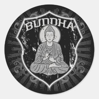 Buddha in Grunge Round Sticker