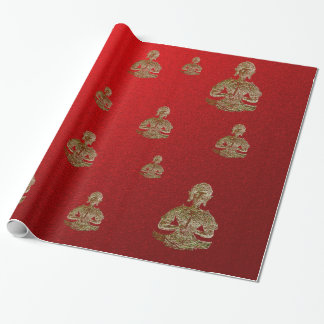 buddha in red wrapping paper