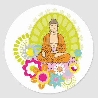 Buddha in Spring Flowers Classic Round Sticker