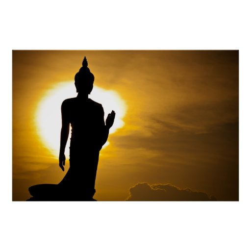 Buddha in the sunset posters