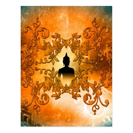 Buddha in the sunset with glowing mystical light postcard