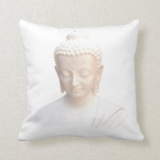 Buddha In White | Serene Meditative And Calm Throw Pillow