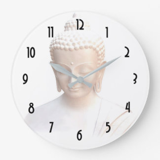 Buddha In White | Serene Meditative And Calm Wallclock