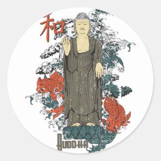 Buddha, Kanji and Koi Fish Round Sticker