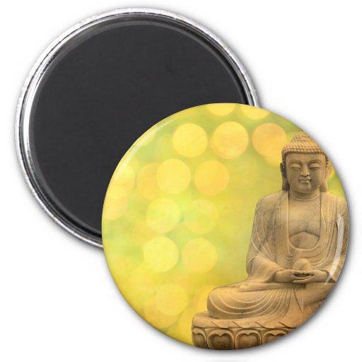 buddha light (yellow) 6 cm round magnet
