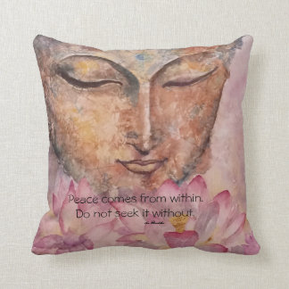 Buddha Lotus Peace Quote Watercolor Art Pillow
