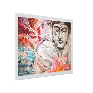 Buddha Lotus Watercolor Canvas Print 18x24