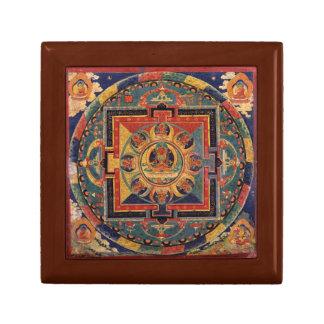 Buddha Mandala Antique Tibetan Thanka Small Square Gift Box