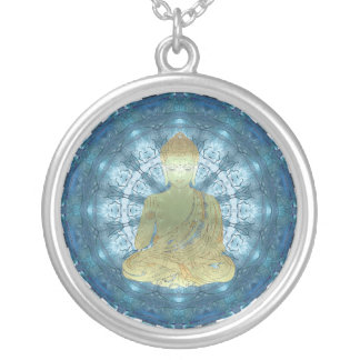 Buddha Mandala applied (blue) Silver Plated Necklace