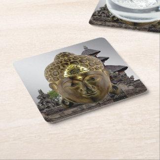Buddha Mask Square Paper Coaster