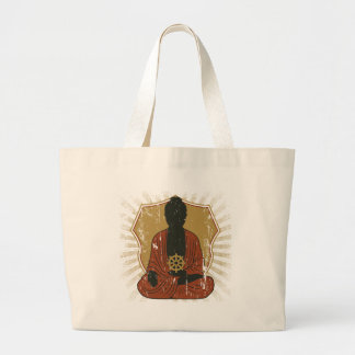 Buddha Meditating Dharma Wheel Large Tote Bag