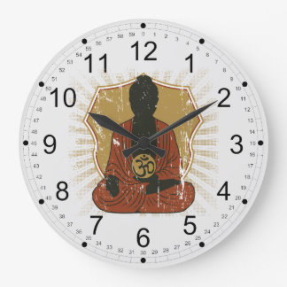 Buddha Meditating Om Symbol Large Clock