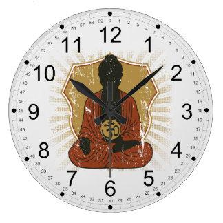 Buddha Meditating Om Symbol Wall Clocks