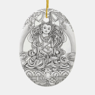 buddha of compassion oval ornament