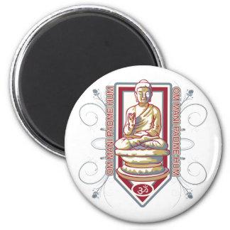 Buddha Om Mani Padma Hum 6 Cm Round Magnet