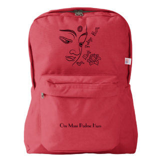 Buddha Om Mani Padme Hum Black Backpack