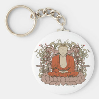 Buddha On Lotus Flower Key Ring