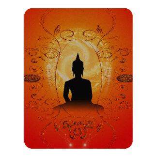 Buddha on mysical background 11 cm x 14 cm invitation card