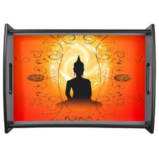 Buddha on mysical background serving tray