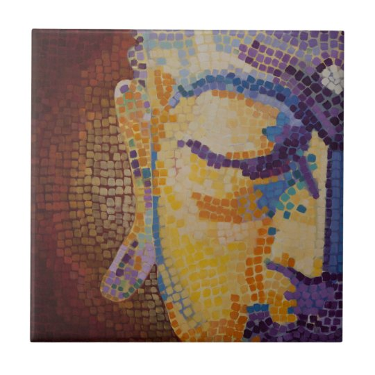 Buddha painting small square tile