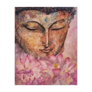 Buddha Pink Lotus Watercolor Print Wrapped Canvas