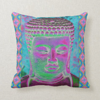 Buddha Pop in Magenta and Turquoise Throw Pillow