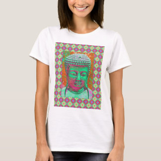Buddha Pop with Patchwork Borders in Green and Red T-Shirt
