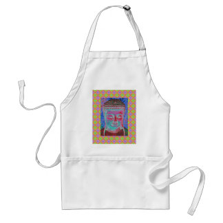 Buddha Pop with Yellow and Pink Borders Adult Apron