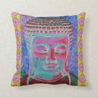 Buddha Pop with Yellow and Pink Borders Throw Pillow