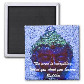 Buddha quotation on buddha background square magnet