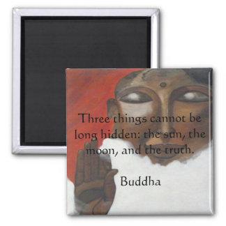 Buddha quotation on painted budha square magnet