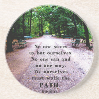 Buddha QUOTE about personal salvation and choices Beverage Coasters