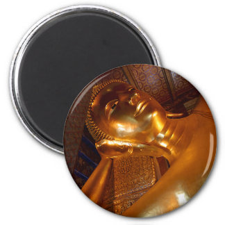 Buddha Reclining ~ Buddhist Temple Photo 6 Cm Round Magnet