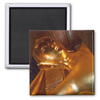 Buddha Reclining ~ Buddhist Temple Photo Square Magnet