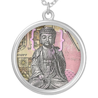 buddha scrapbook art round pendant necklace