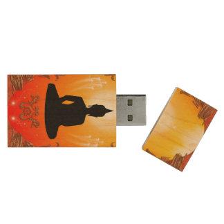 Buddha silhouette with glowing light wood USB 2.0 flash drive