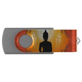 Buddha silhouette with glowing light swivel USB 2.0 flash drive